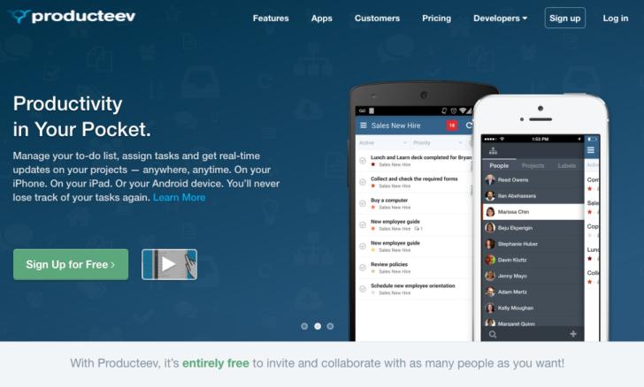 Producteev ウェブサイト ホーム画面