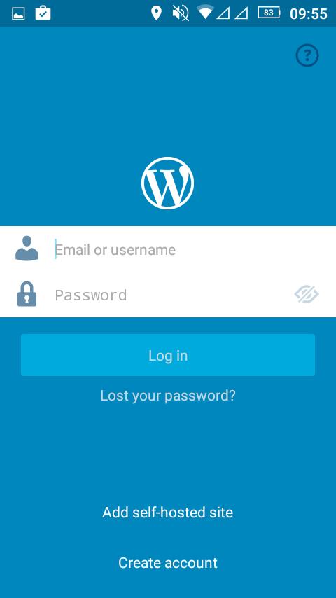 ワードプレスアプリの初期画面