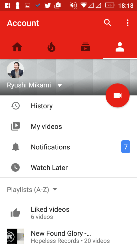 YouTubeアプリのプロフィール画面
