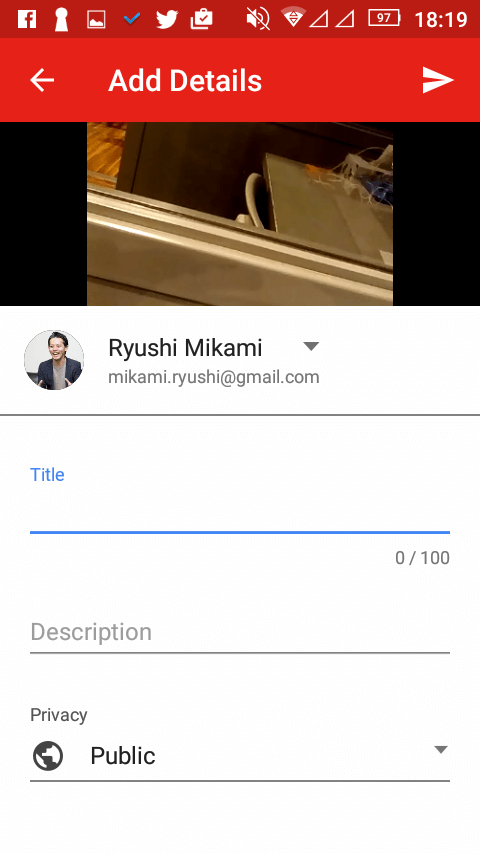 AndroidスマホのYouTube投稿画面