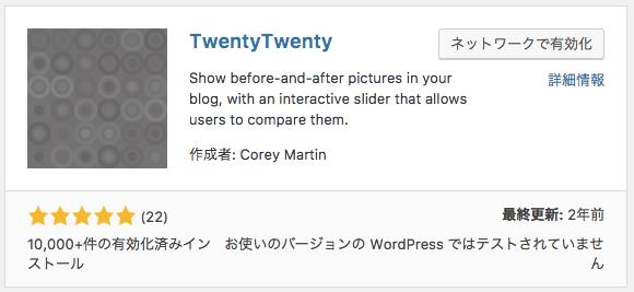 twentytwenty インストール画面